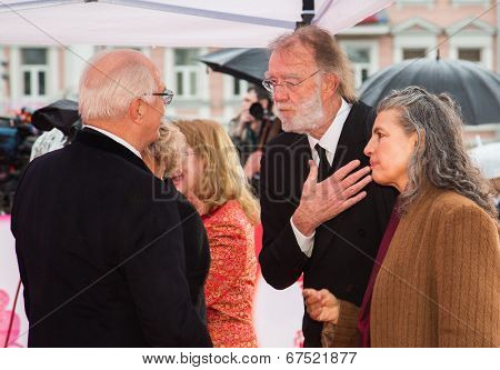 MOSCOW - JUNE, 28: Nikita Mikhalkov greeting Godfrey Reggio. 36st Moscow International Film Festival. Closing Ceremony at Rossiya Cinema . June 28, 2014 in Moscow, Russia