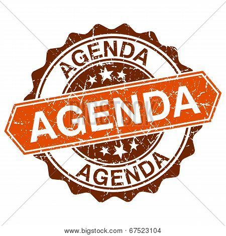 Agenda Grungy Stamp Isolated On White Background