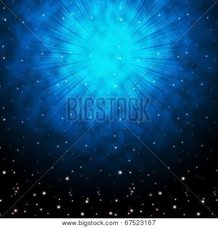 Blue Sky Background Means Stars Celestial And Glowing.
