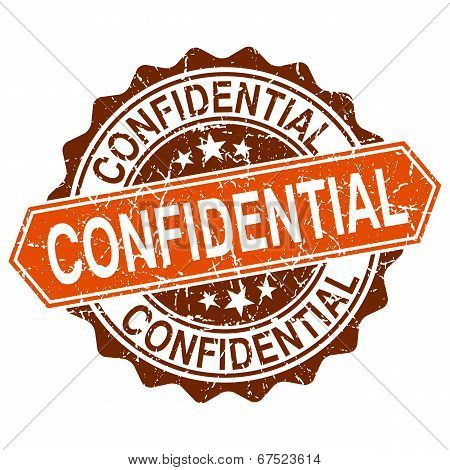 Confidential Grungy Stamp Isolated On White Background