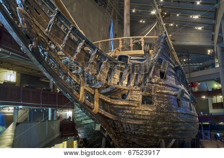 STOCKHOLM, SWEDEN  MAY 17, 2014: The Vasa Museum displays the only almost fully intact 17th century ship that has ever been salvaged, the 64-gun warship Vasa that sank on her maiden voyage in 1628.