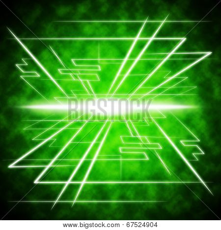 Green Brightness Background Shows Radiance And Lines.