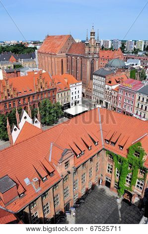 Old Town Skyline Of Torun - Aerial View From Town Hall Tower. The Medieval Old Town Is A Unesco Worl