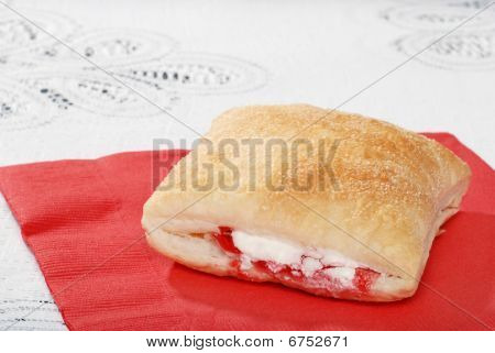 Apple Raspberry Pastry On Red Napkin