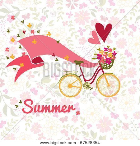summer, bicycle and flowers background