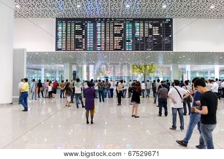 SHENZHEN - APRIL 15: airport interior on April 15, 2014 in Shenzhen, China. Shenzhen Bao'an International Airport is located near Huangtian and Fuyong villages in Bao'an District, Shenzhen, Guangdong