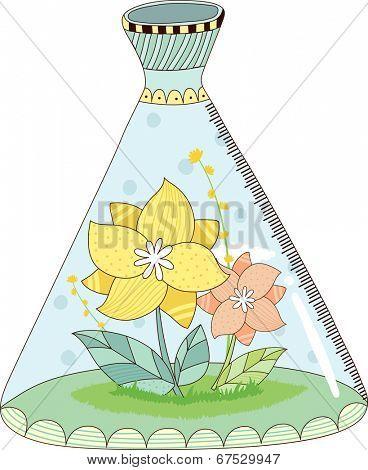 The view of flowers beaker