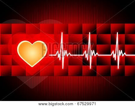 Red Heart Background Means Cardiac Rhythm And Cubes.