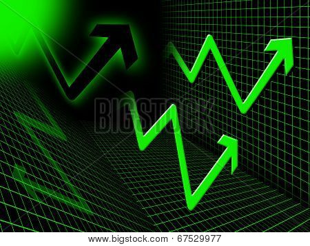 Green Arrows Background Means Up Upwards And Higher.