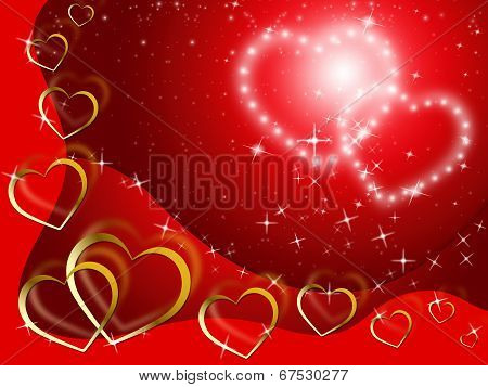 Twinkling Hearts Background Shows Lover And Fondness.