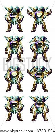 Futuristic Alien Character Full Body Expressions