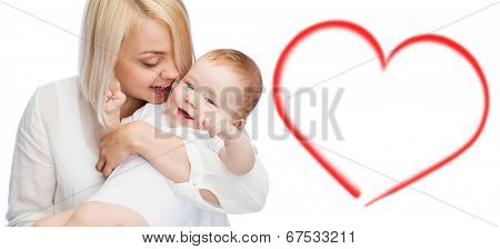 family, child and parenthood concept - happy mother with smiling baby