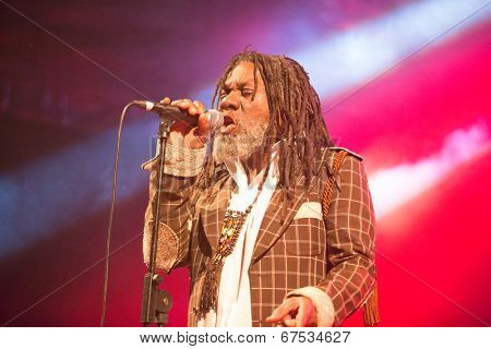 LOULE - JUNE 26: Winston Mcanuff and Fixi, traditional duo from Jamaica and France, performs on stage at festival med, a world music festival, in Loule, Portugal, June 26, 2014