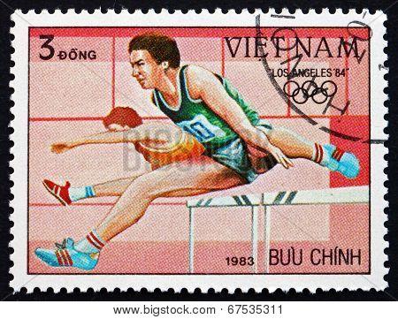 Postage Stamp Vietnam 1983 Hurdles, 1984 Olympics, Los Angeles