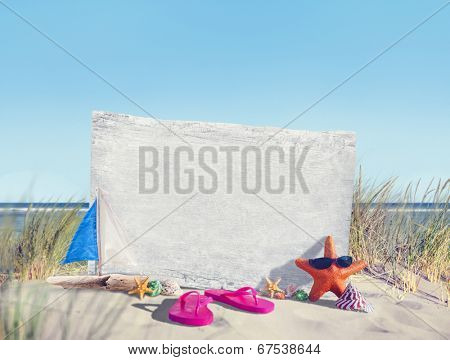 Empty Signboard  and Summer Props on Beach