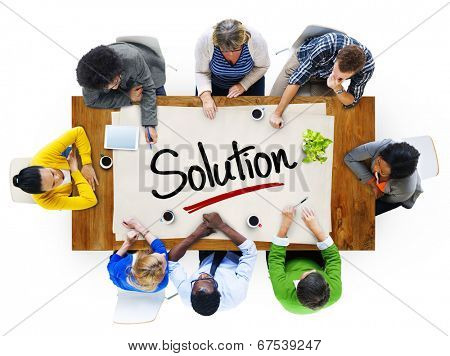 People in a Meeting and Single Word Solution