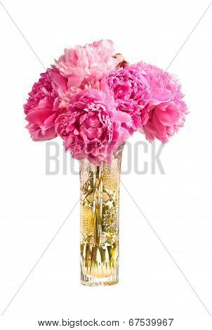 Bouquet Of Pink Peonies In The Vase