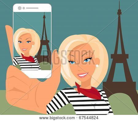 Blond woman is taking selfie in Paris
