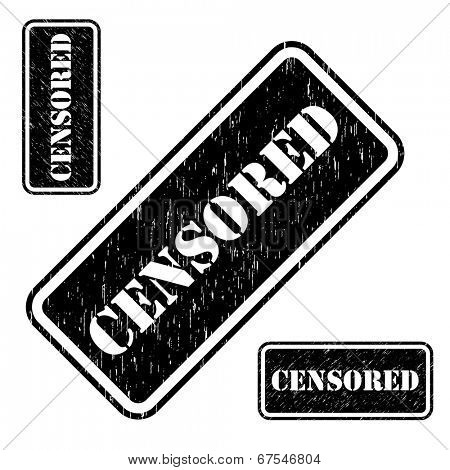 Censored stamp grungy imprint isolated on white background.