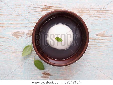 Mozzarella Cheese In Brine, Basil Leaf
