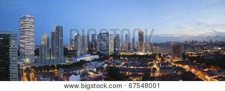 Kampong Glam In Singapore Aerial View At Blue Hour Panorama