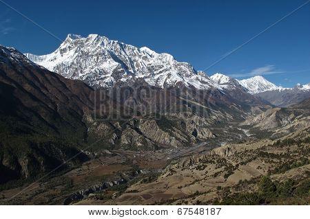 Hongde Airport And Snow Capped Annapurna Range