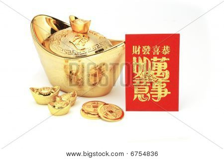 Chinese New Year Gold Ingots And Red Packet