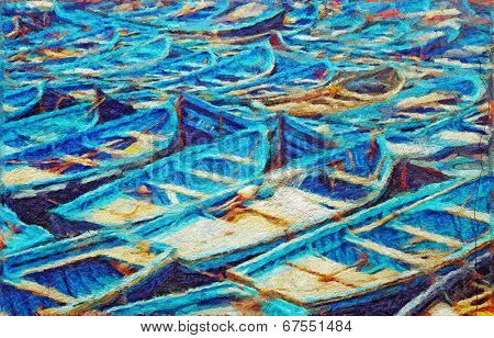 Original oil painting of fishing boats on the pier. Impressionism
