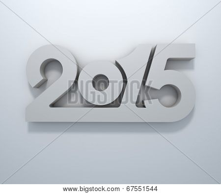 Abstract 3D 2015 year figures wall design.