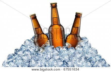 Three beer bottles getting cool in ice cubes. Isolated on a white background. File contains clipping pats.