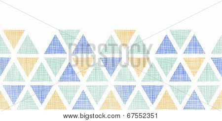 Abstract textile ikat triangles horizontal seamless pattern background