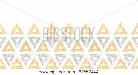 Abstract textile ikat yellow brown triangles horizontal seamless pattern background