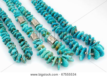 Turquoise Nugget Necklaces with Silver Beads.