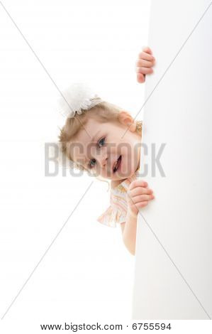 Caucasian Girl Holding A Blank