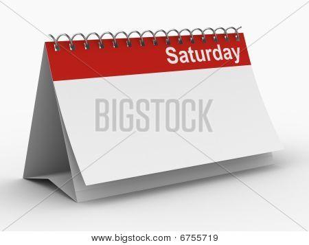 Calendário para sábado em fundo branco. Isolado de imagem 3D
