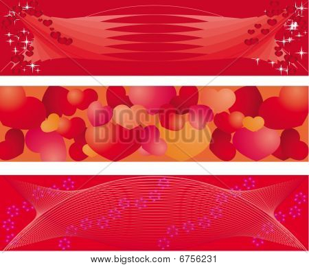 set of 3 banners on Valentine day