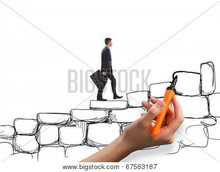 Young businesswoman walking up on stone ladder