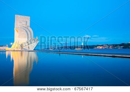 monument to the discoveries Lisbon Portugal at dusk