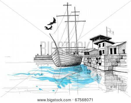 Harbor sketch, boat on shore vector illustration