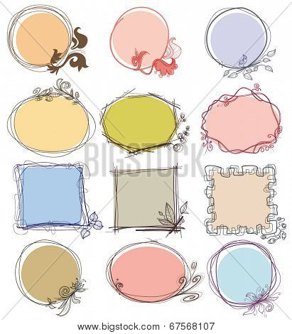 Cute decorative frames set, place for text