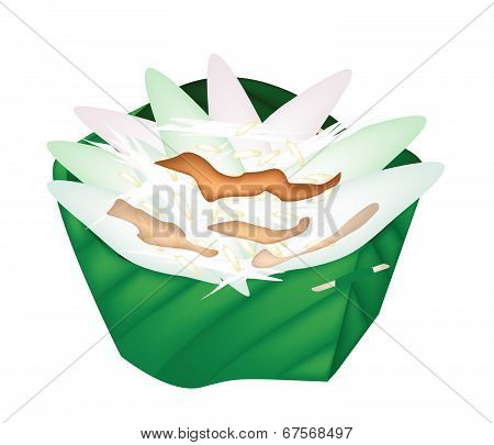 Thai Sticky Rice Sweetmeat In Counts Banana Leaf