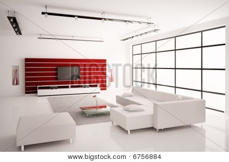 Living Room In White Red Interior 3D