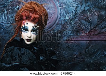 Gothic witch. Dark woman.Halloween picture.