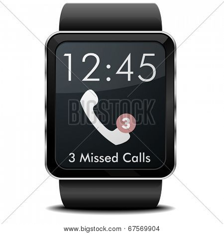 detailed illustration of a wearable smartwarch with missed calls screen, eps10 vector