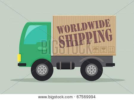 detailed illustration of a delivery truck with worldwide shipping label, eps10 vector