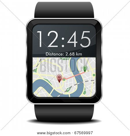 detailed illustration of a wearable smartwarch with a GPS navigation screen, eps10 vector