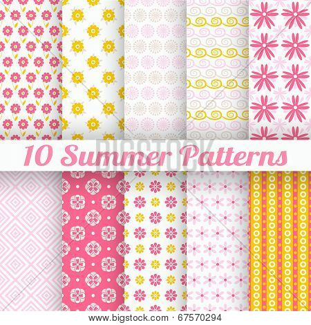 10 Light summer vector seamless patterns (tiling)