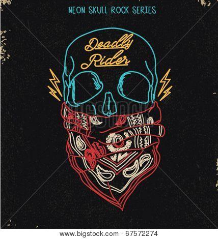 neon skull rock