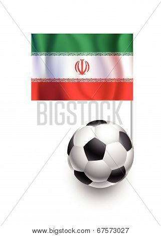 Illustration Of Soccer Balls Or Footballs With  Pennant Flag Of Iran Country Team