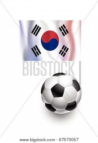 Illustration Of Soccer Balls Or Footballs With  Pennant Flag Of Korea Republic Country Team